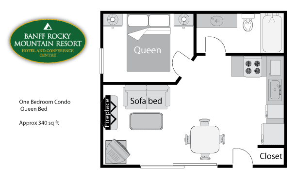 One Bedroom Condo - Floor plan
