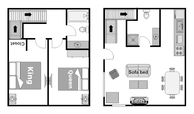 Floor Plan Two Bedroom Wolf Condo